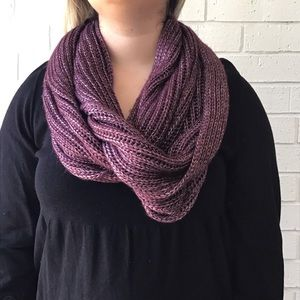 Calia | Purple Metallic Silver Infinity Scarf